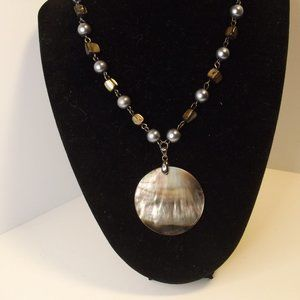 Genuine Shell Pendant Necklace Gray Faux Pearl